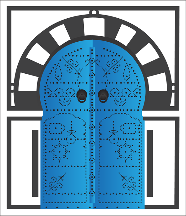 Illustration porte sidi bousaid tunisie on behance for Maison traditionnelle tunisienne