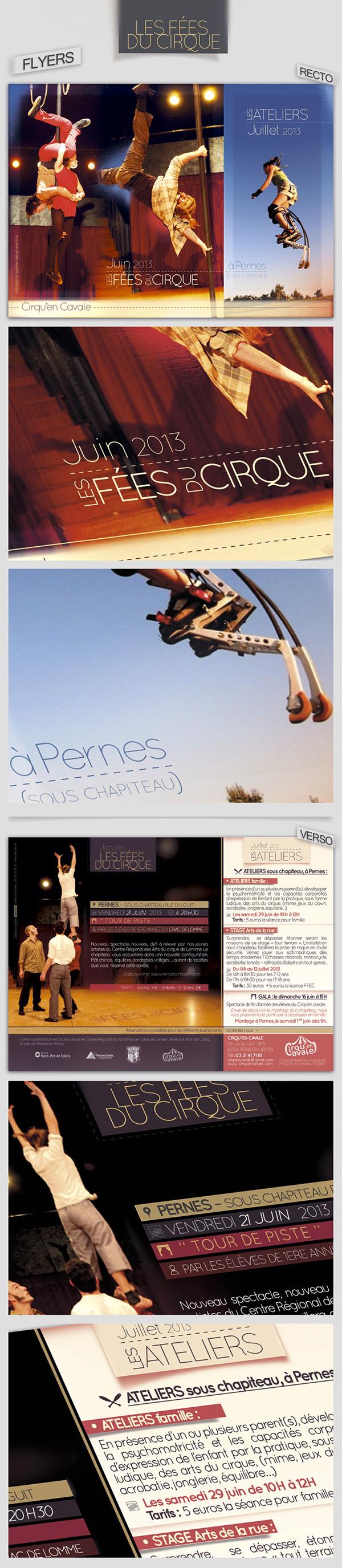 Circus cirque Cirqu'en Cavale flyers Entertainment Performance impression marquee chapiteau fees print