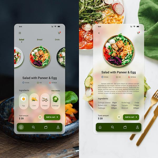 Glassmorphism concept for food app