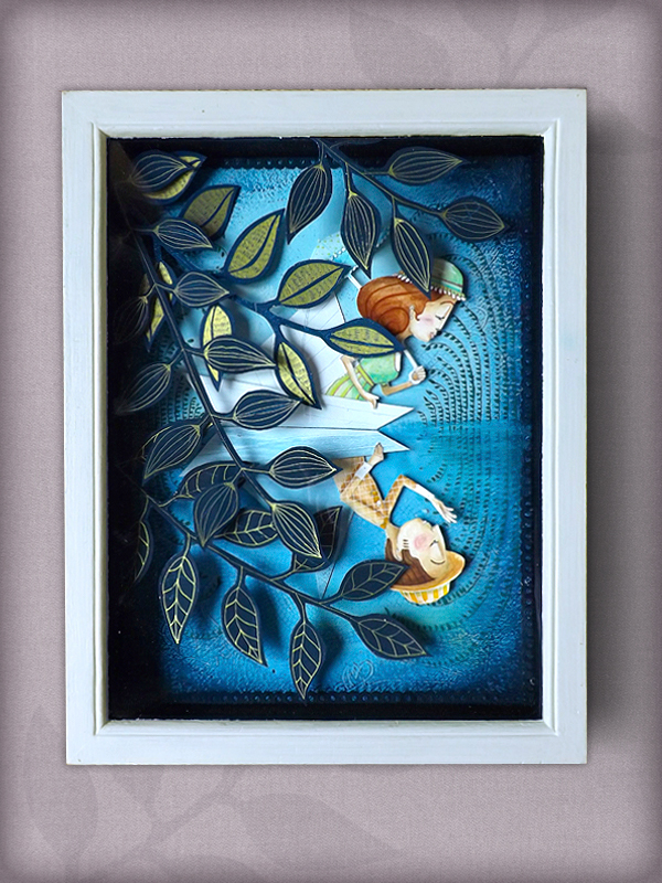 collage paper engineering  frame  characters   Leaves  tree  water  boat  paper  Couple  love