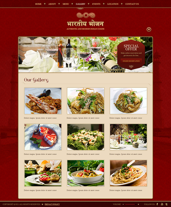 Authentic & Modern Indian Restaurant HTML5 Template on Behance