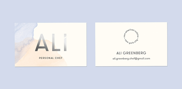 Personal chef business cards on pantone canvas gallery design stine nielsen client ali greenberg studio toda colourmoves