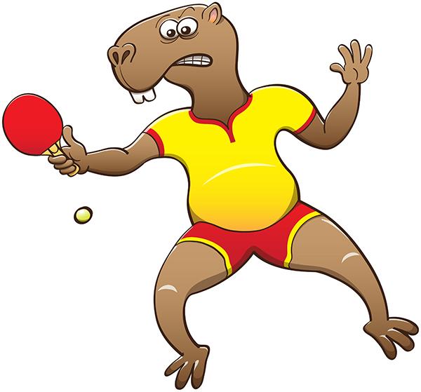 Capybara ready to smash the ball in a table tennis match