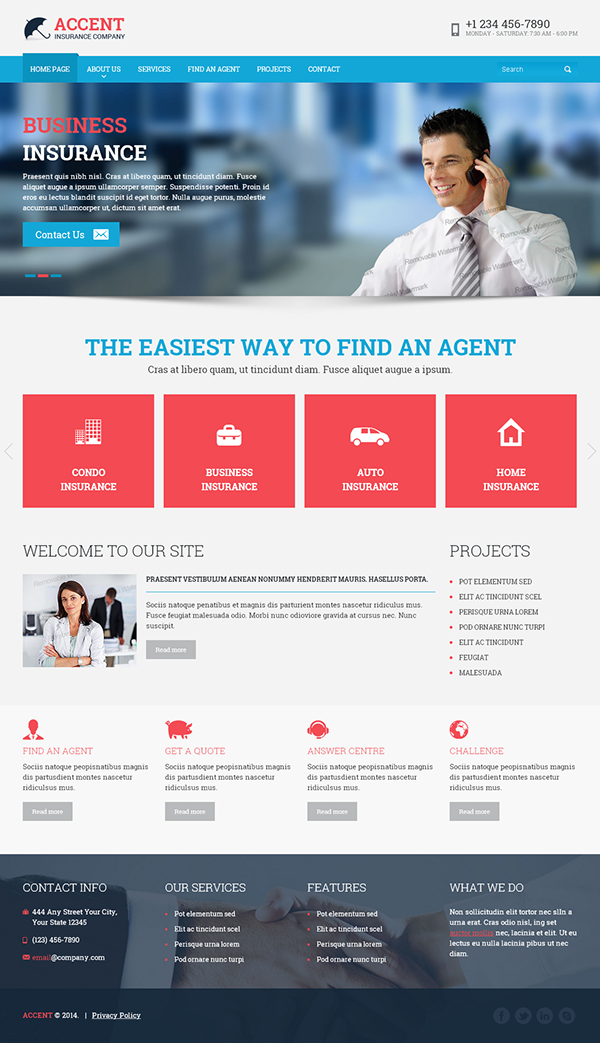website insurance template  Insurance company HTML Template on Behance