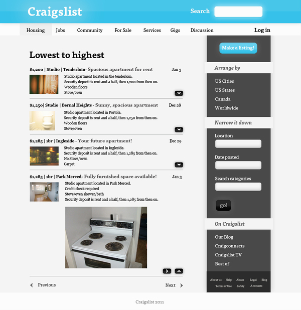 Craigslist Redesign on Student Show