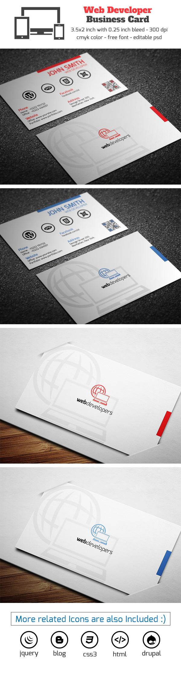 Web developer business card on behance magicingreecefo Choice Image