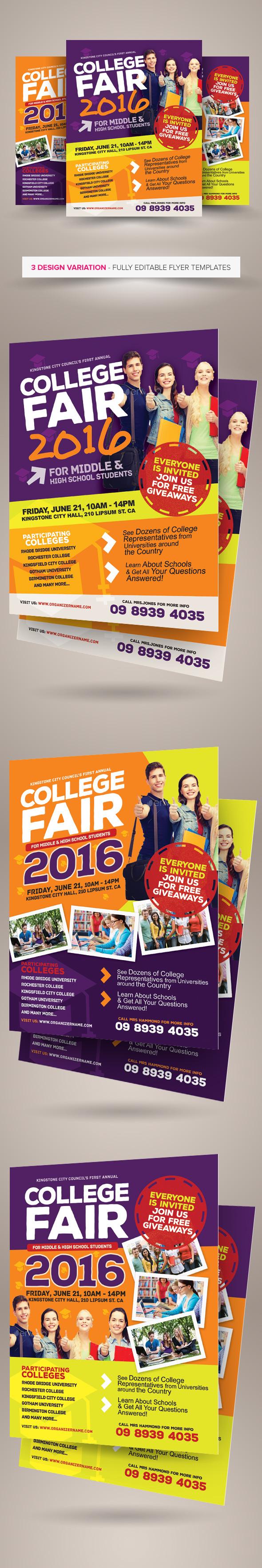 college fair flyer templates on behance