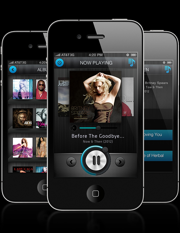 iphone music player app concept on risd portfolios. Black Bedroom Furniture Sets. Home Design Ideas