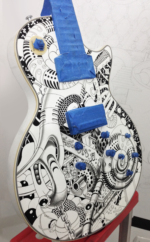 Marlow Guitars guitar black &white surreal Samuel Gomez Art