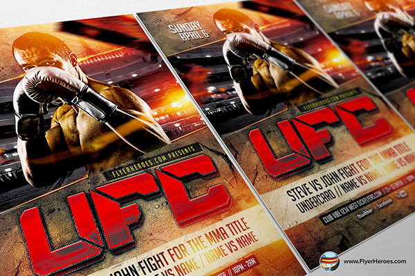 UFC Style Fight Night Flyer Template on Behance – Ufc Flyer Template