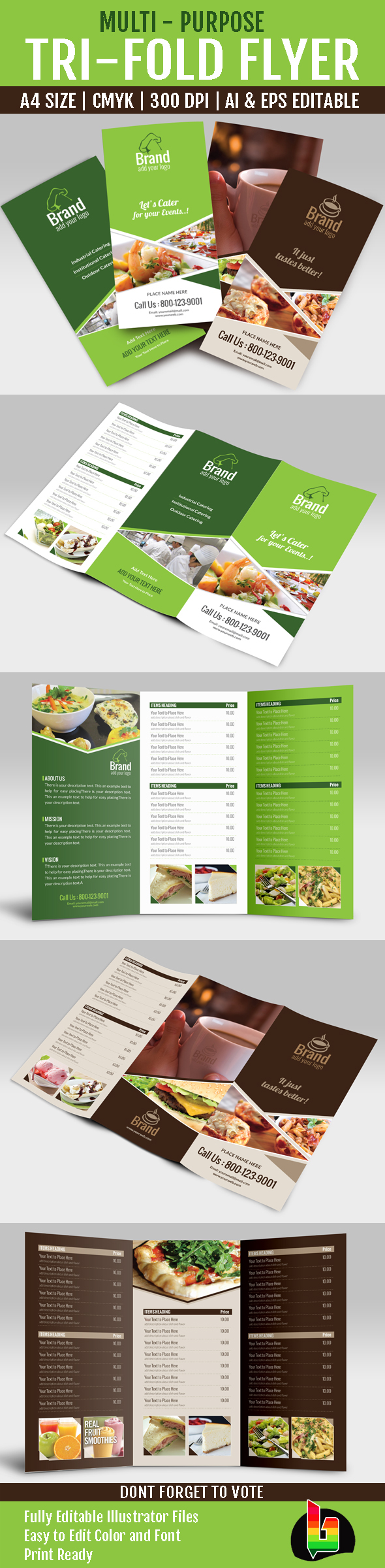 multi purpose tri fold menu card on behance