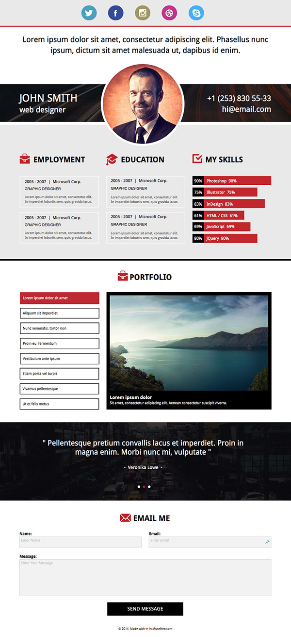 free download adobe muse resume template on behance
