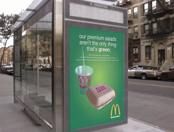 campaign Bus Shelter Cradle to Cradle mcdonald's Packaging biodegradable bagasse PLA Sugarcane cornstarch billboard advertisement