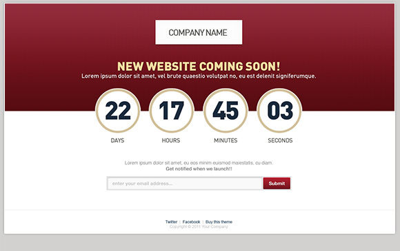 count down underconstruction site launch site template