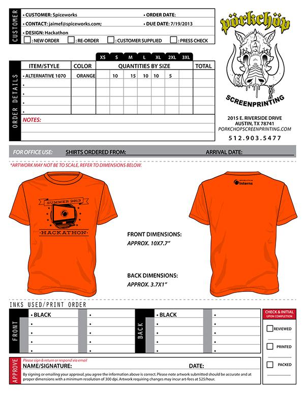 Order Form Printing Order Form Porkchop