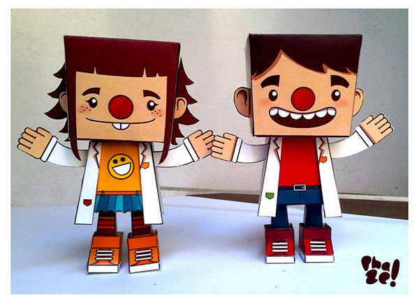 paper toy doctor laugh therapy FDS El Salvador Guatemala Chystie papercraft clown red nose Character paper toys