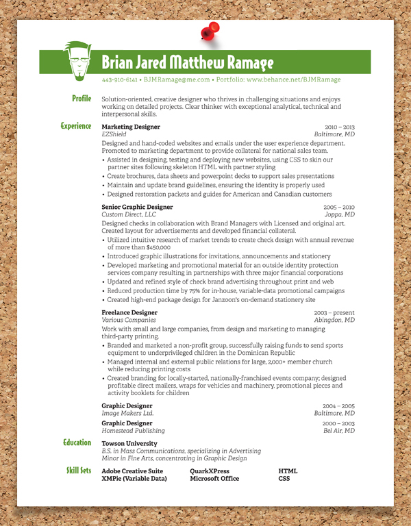 Graphic Design Resume On Behance  About Me Resume