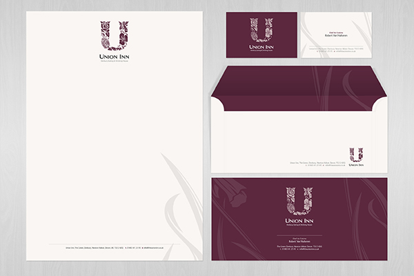 logo menus Stationery  business card letterhead union inn