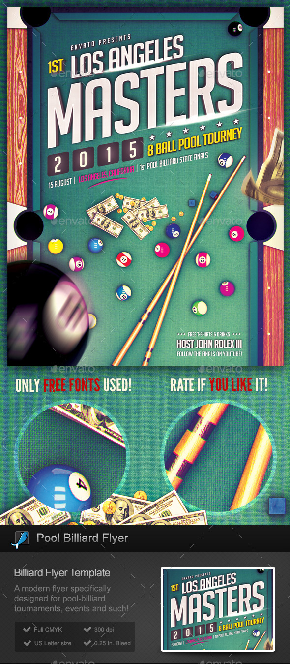 Pool Billiard Flyer Template On Behance - Competition pool table