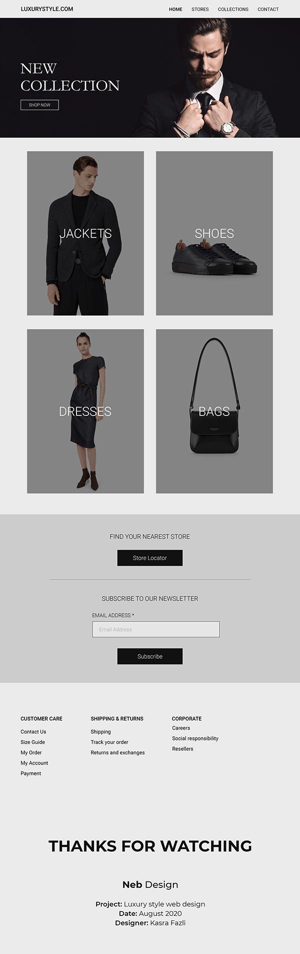 Luxury style web design
