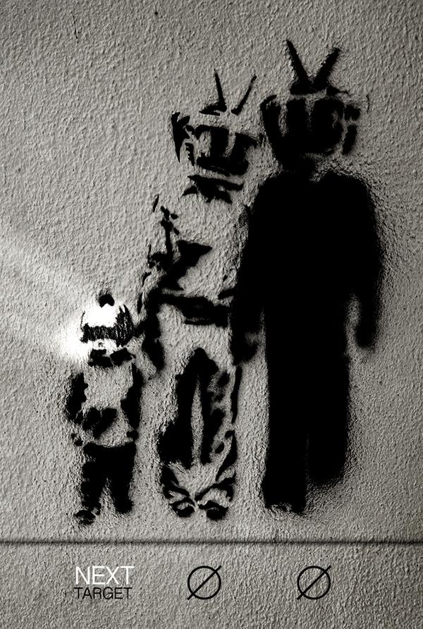 tv brainwashing manipulation wall streetart family