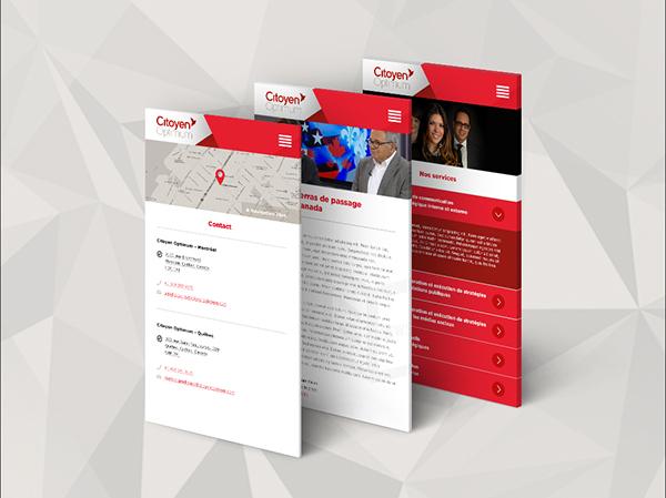 Web design public relations red photo people UI ux mobile origami  bird ergonomy citoyen optimum Canada citizen relations