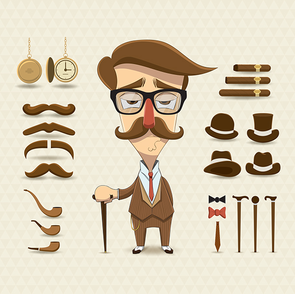 Character Design Set : Character design set with elements and accessories on behance