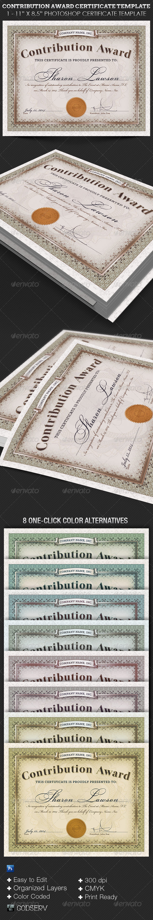 Contribution Award Certificate Template On Behance