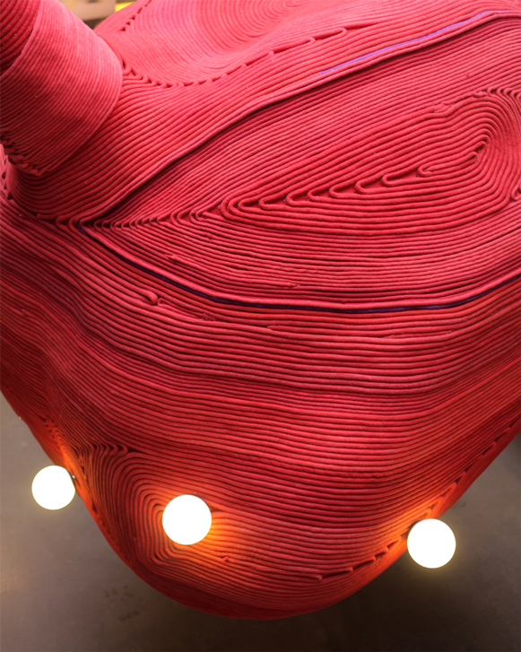 Bilsar rope materiality material dye red heart installation valentines day advertisement