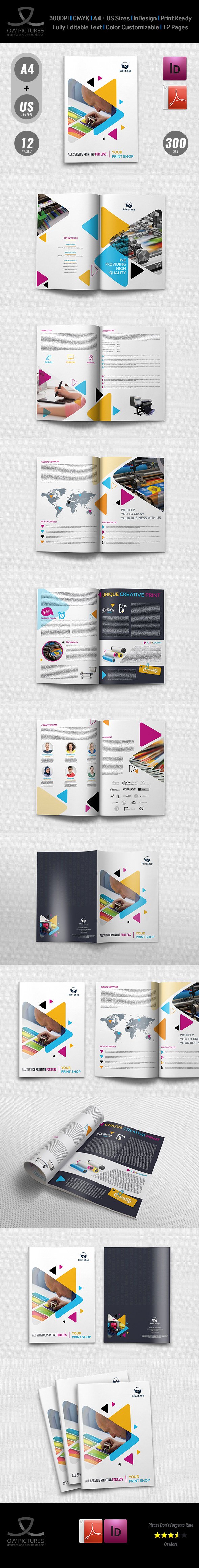 Print Shop Brochure Template 12 Pages On Behance