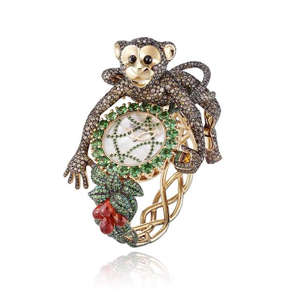 Chopard animal world chimpanzee watch baselworld 2014 for Chopard animal world jewelry collection