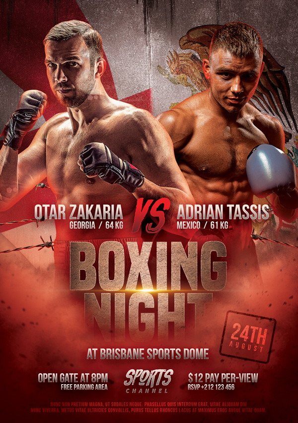 Boxing Match Flyer Template On Behance