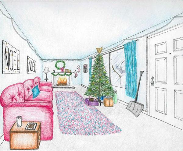 Xmas Room Sketch On The Art Institutes Portfolios