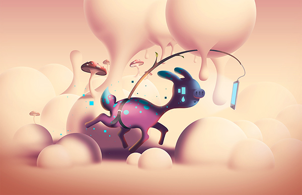 Digitalia Pt.3: Obsession digital artwork in cartoon style. Fantasy creature addicted to social media.
