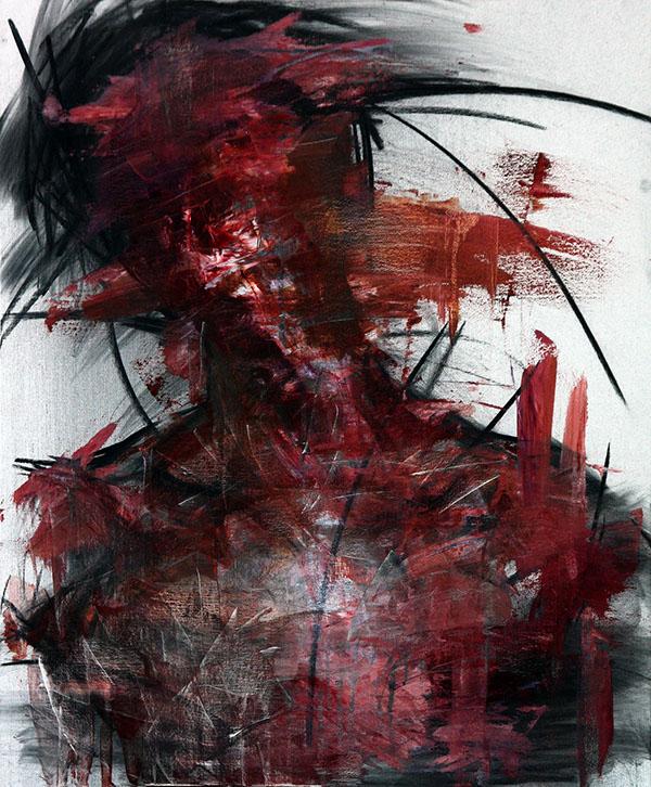 KwangHo Shin, senza titolo, olio e carboncino, 72.5 x 60 cm, 2013