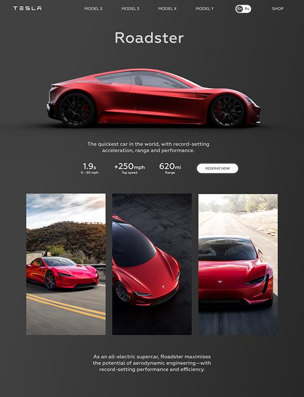 Landing for Tesla Roadster