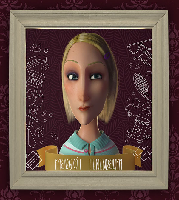 The Royal Tenenbaums wes anderson 3D Sculp tribute vray 3ds max Hair and Fur