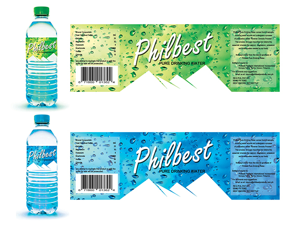 Philbest Pure Water Bottle Label Design on Behance