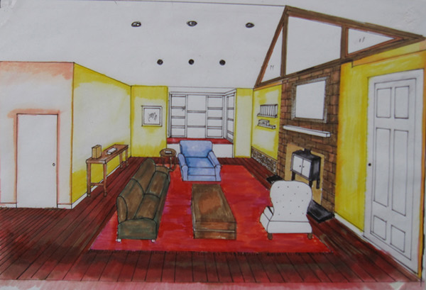 100 Orchard Avenue Weston MA Cottage Guest House Living Room 3D Drawing
