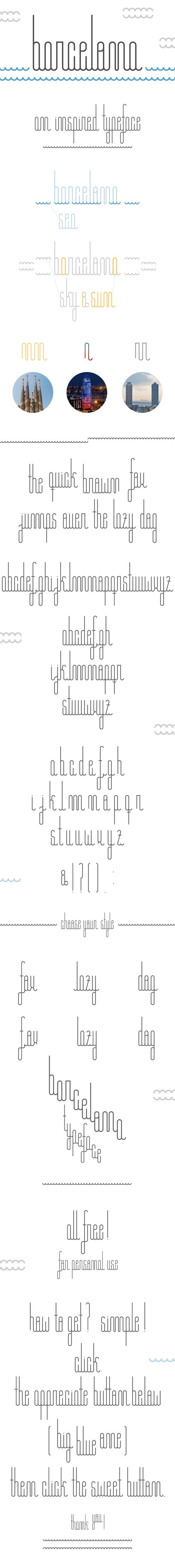 free Free font typo letteer barcelona Typeface type new city inspired sea Sun Retro vintage marti garces