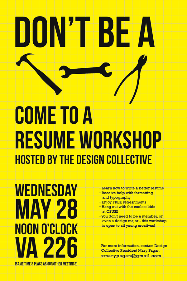 resume workshop poster on behance