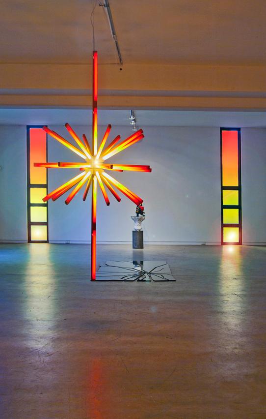 sculpture light conceptual colour sunset marx chainsaw reflection