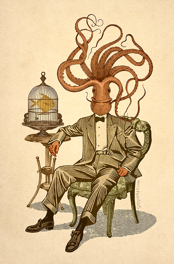 collage vintage surrealism pop octopus fish cage