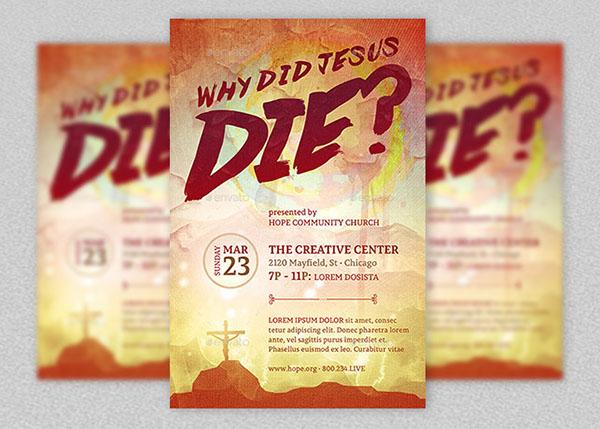 1u2013 4u201dx6u201d Photoshop Why Did Jesus Die Church Flyer Template 1  5.5u201dx8.5u201d  Photoshop Why Did Jesus Die Church Flyer Template