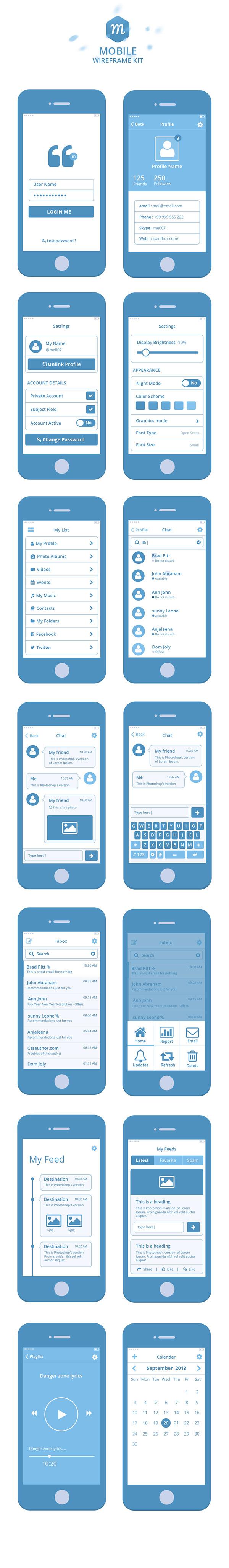#webdesign #it #web #design #layout #userinterface #website #webdesign #pixpivot #pixpivot.com #ui_kit #download #free_psd #flat #round #square #icons #iphone #web app #device_mockup Mobile Wireframe Kit psd wireframe