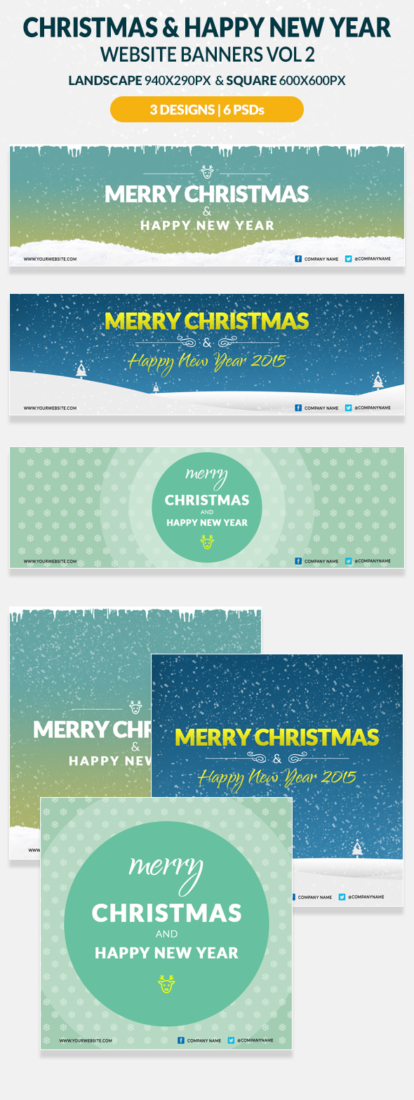 christmas and happy new year website banners on behance