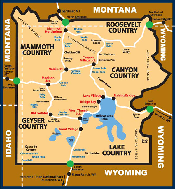 It's just a graphic of Influential Printable Map of Yellowstone