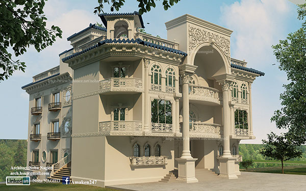 Dr zayed villa classic on behance for Classic villa exterior design