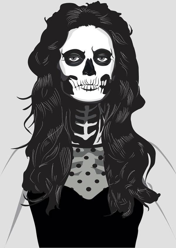 skeleton girl woman black