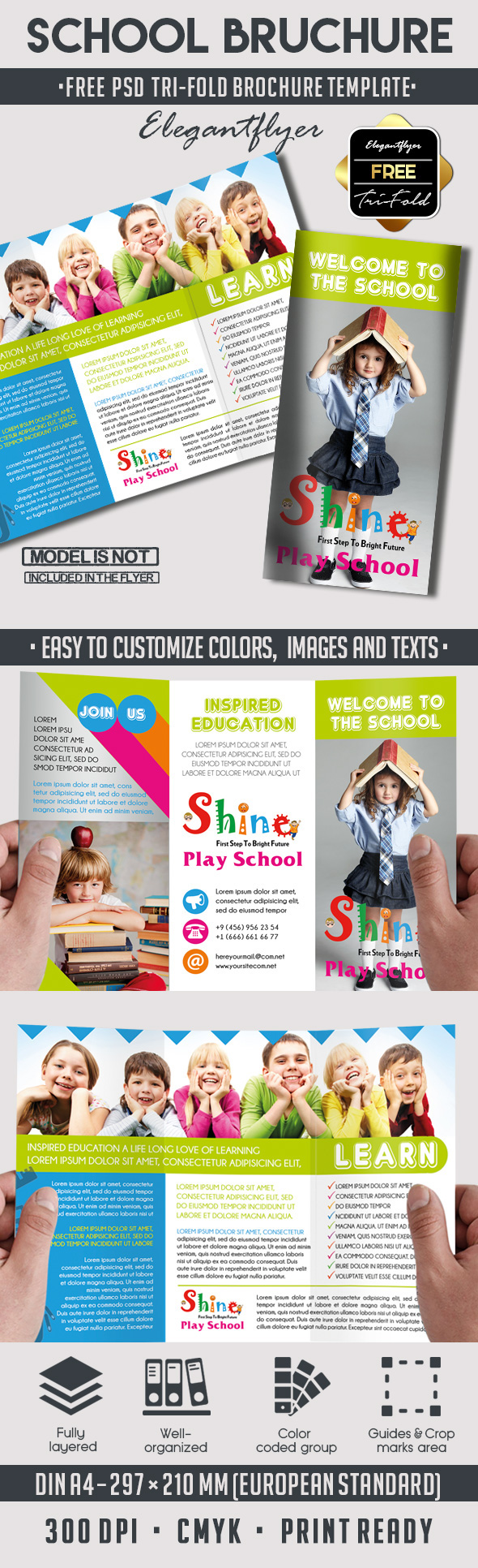 School Free PSD TriFold PSD Brochure Template On Behance - School brochures templates
